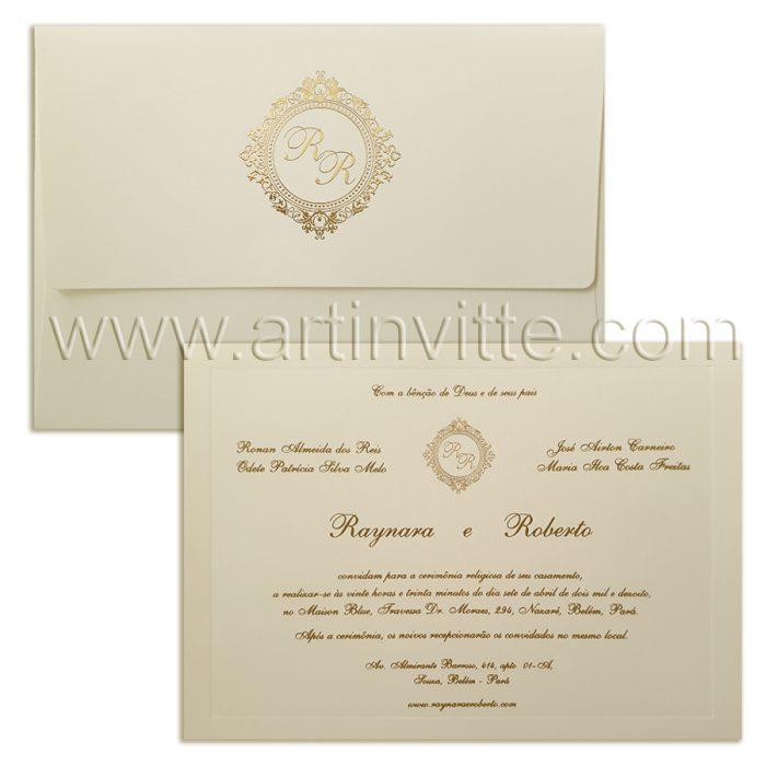 Convite de casamento Dourado Veneza VZ 081
