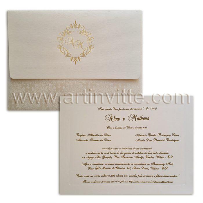 Convite de casamento em pérola VZ 082