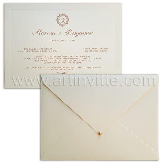 Convite para casamento Veneza VZ 085 com pérola em gota