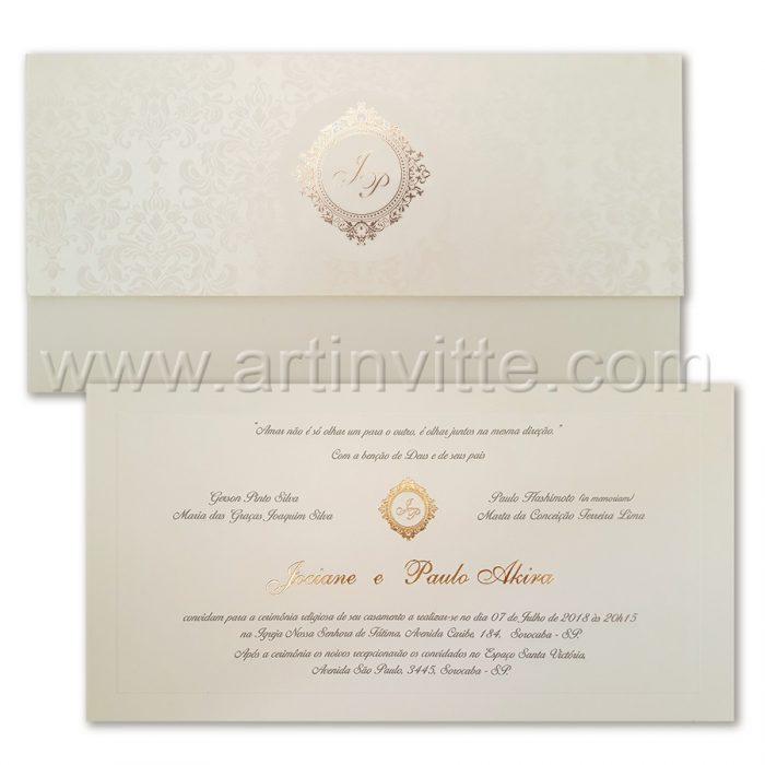 Convite de casamento romântico Veneza VZ 088