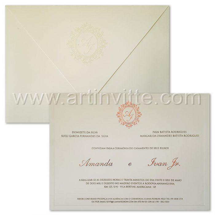 Convite de casamento tradicional Veneza VZ 089.