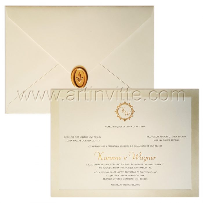 Convite de casamento tradicional Veneza VZ 090