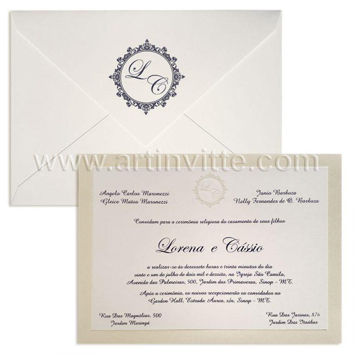 Convite para casamento Tradicional Veneza VZ 094