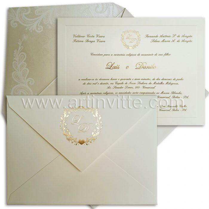 Convite de casamento em Pérola Veneza 096