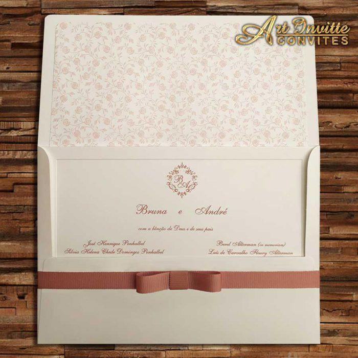 Convite Romântico de casamento Veneza VZ 100