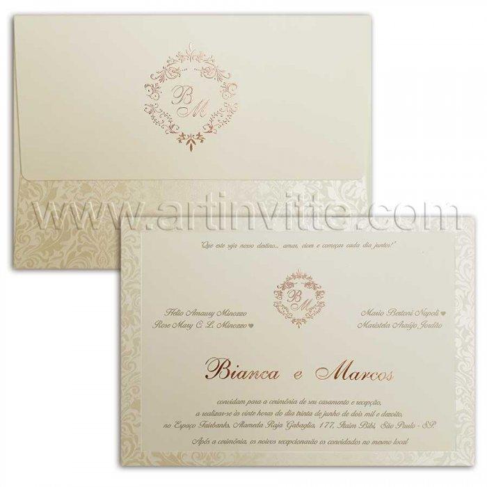 Convite de casamento Romântico Veneza VZ 101