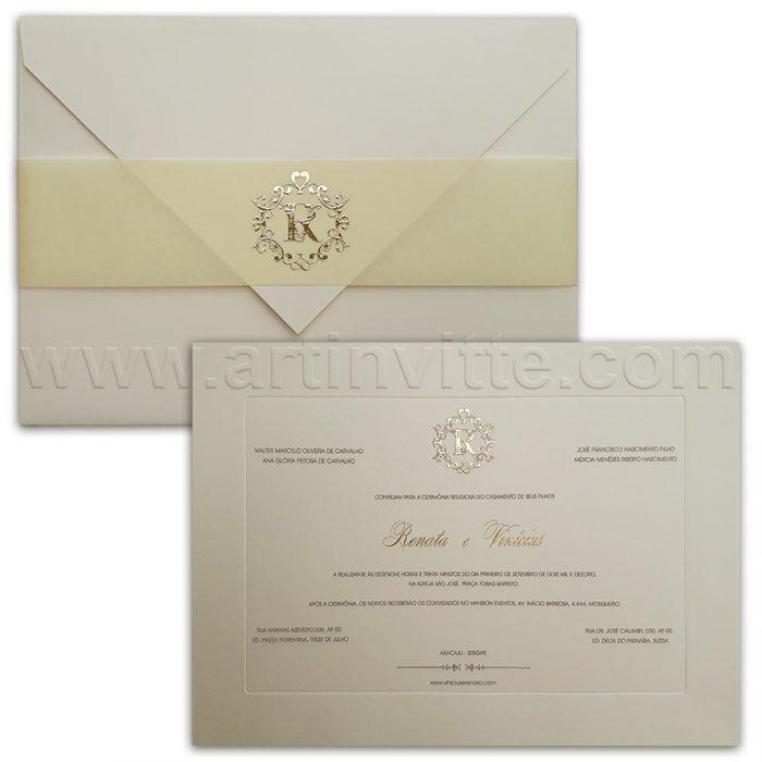 Convite para casamento tradicional Veneza VZ 102