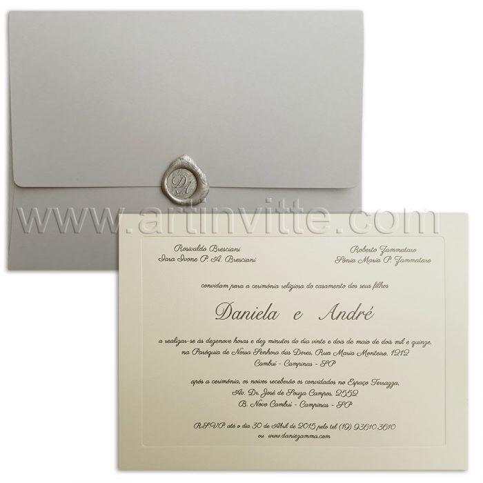Convite de casamento Veneza VZ 104 com lacre