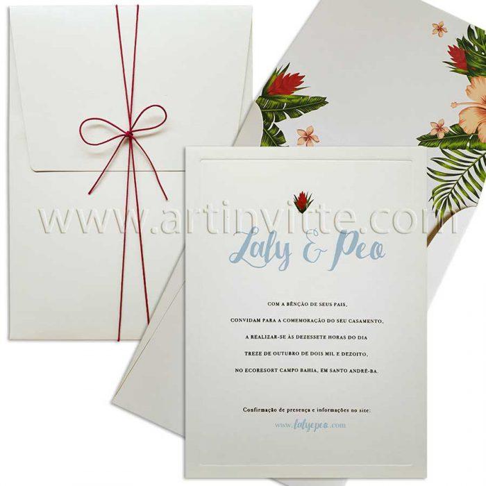 Convite para casamento na praia ou campo com folhagem VZ 107