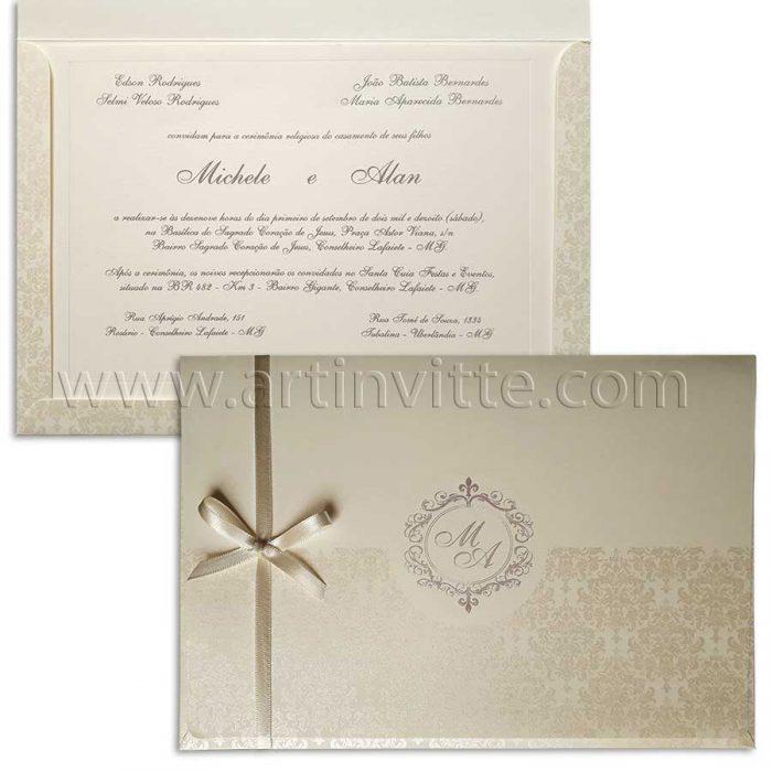 Convite para casamento tradicional clássico Veneza VZ 108