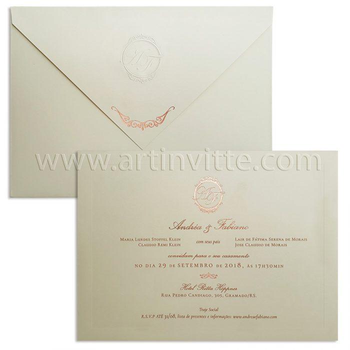 Convite de casamento tradicional Veneza VZ 109