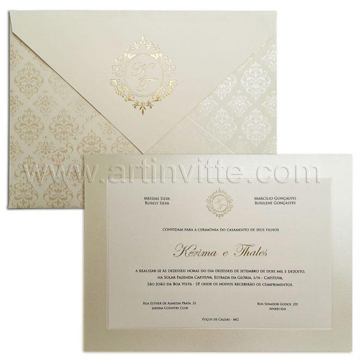 Convite para casamento clássico Veneza VZ 111