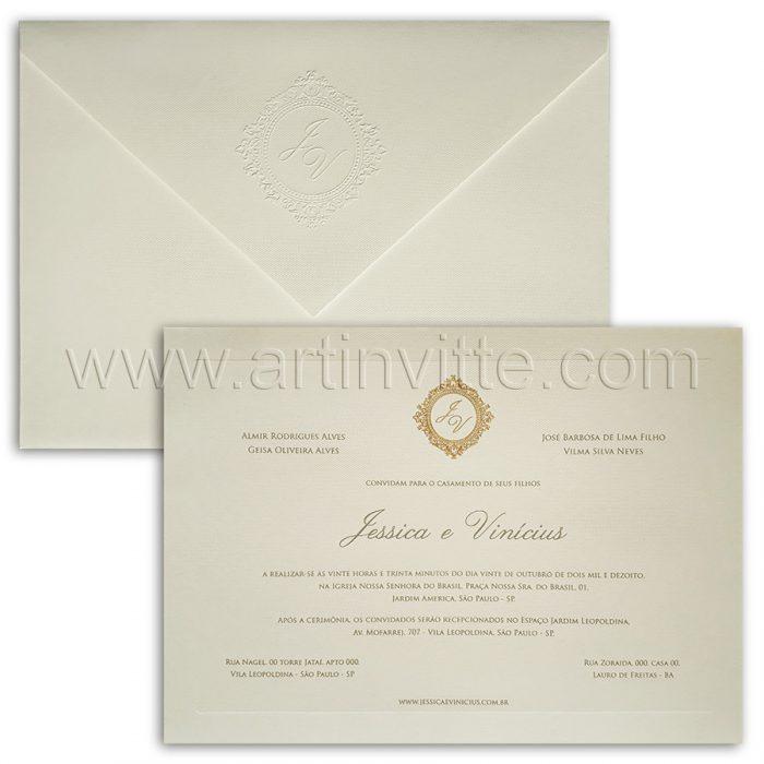 Convite para casamento tradicional Veneza VZ 112