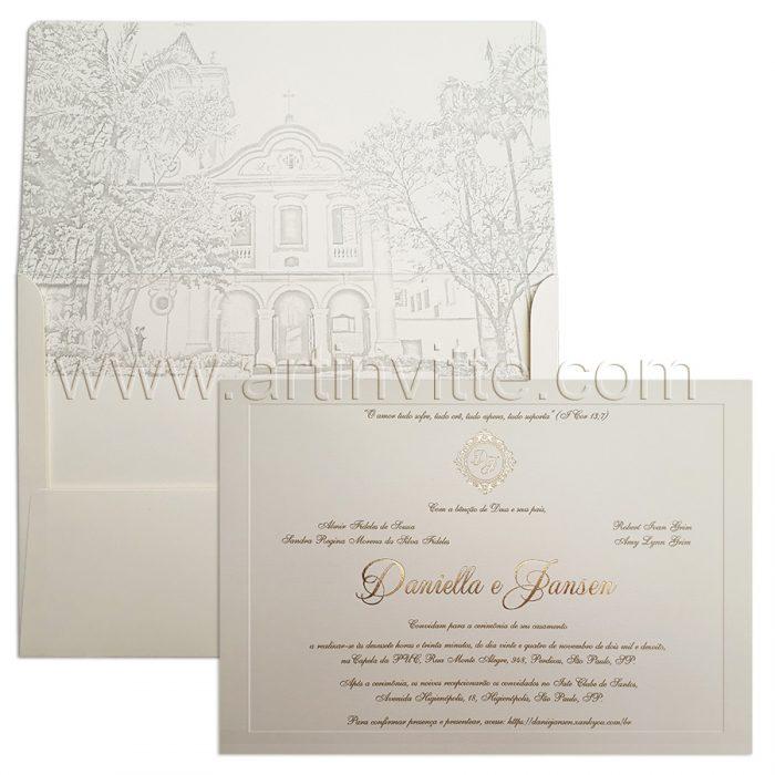Convite para casamento tradicional Veneza VZ 113