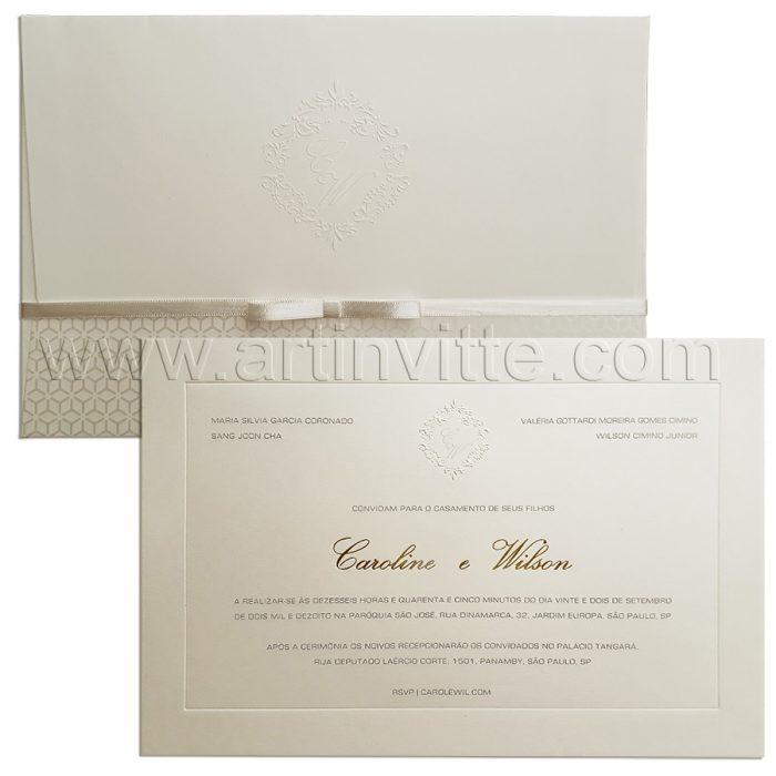 Convite de casamento tradicional Veneza VZ 115 Luxo