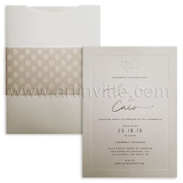 Convite de casamento sóbrio Veneza VZ 117 - clássico