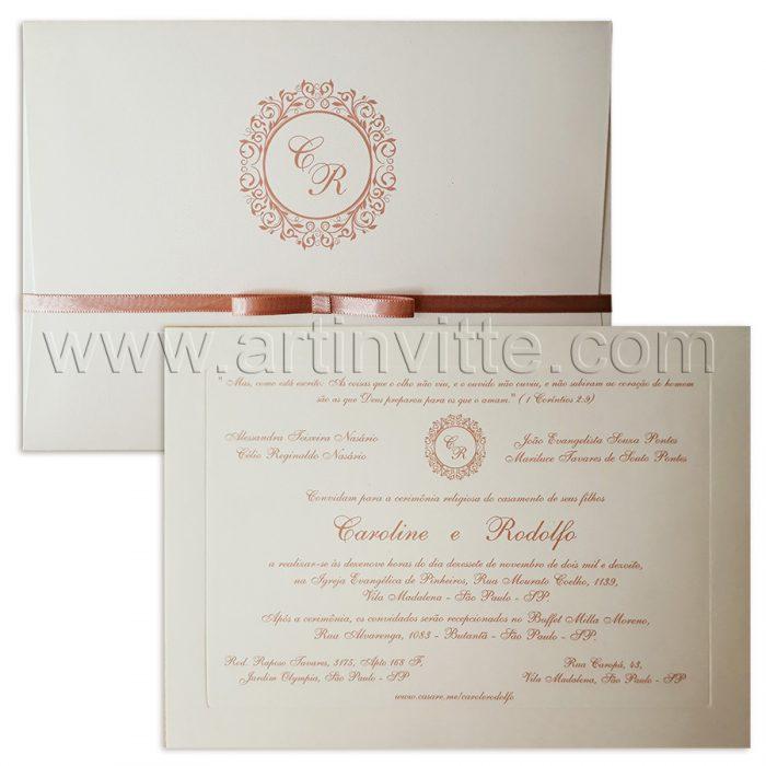 Convite de casamento Veneza VZ 118 - rosê romantico