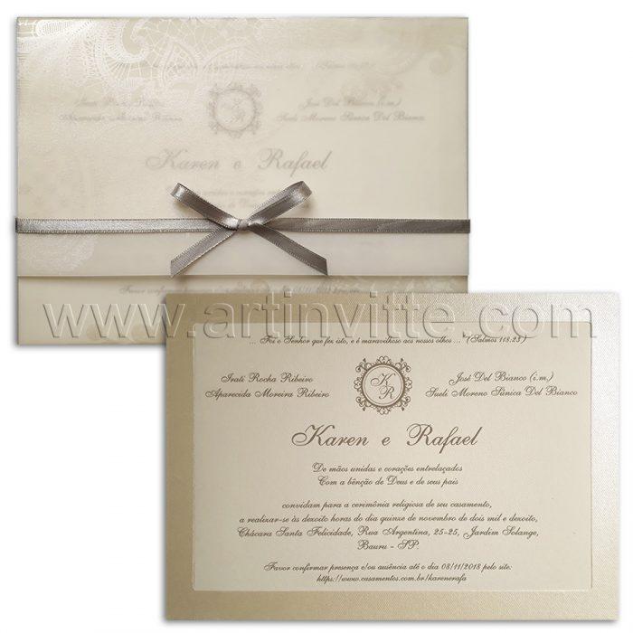 Convite de casamento moderno Veneza VZ 119