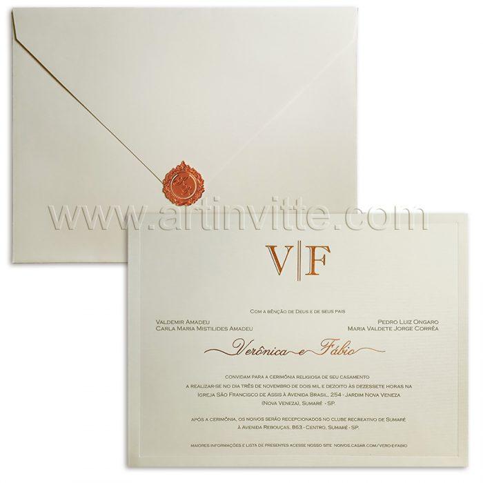 Convite de casamento Veneza VZ 0120 - convite clássico