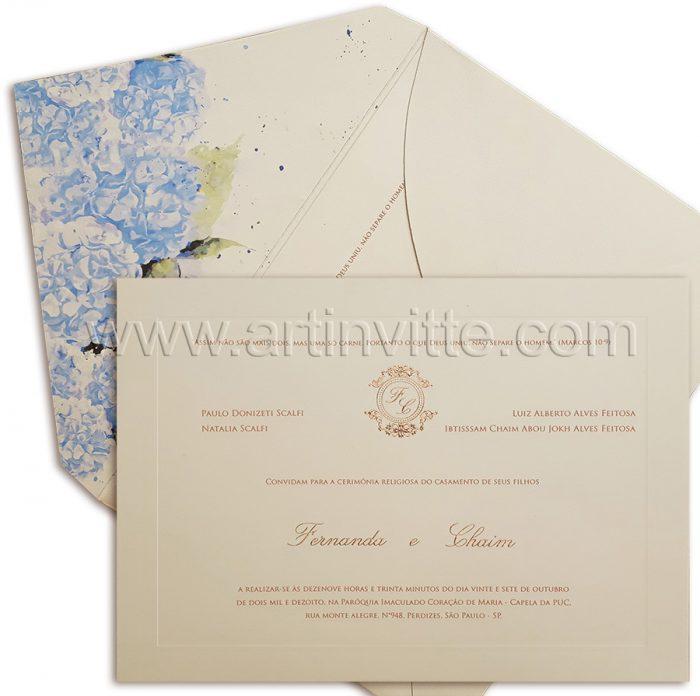 Convite de casamento floral hortensias azuis e texto rosê