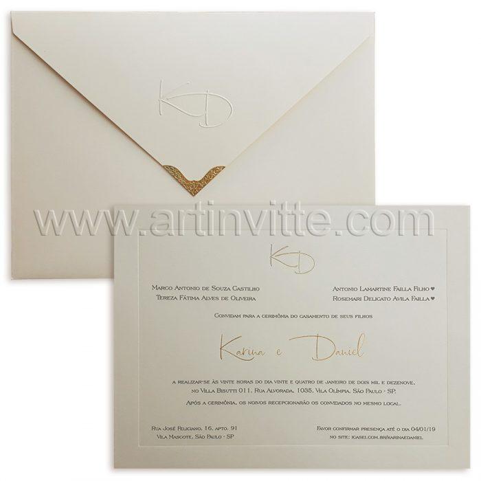 Convite de casamento tradicional Veneza VZ 0125