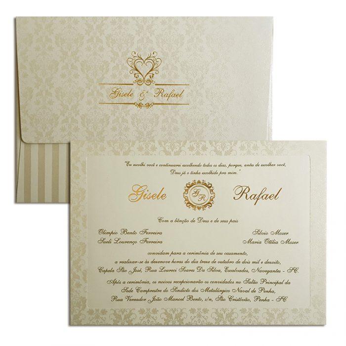 Convite de casamento clássico Veneza VZ 126 - Pérola e Dourado