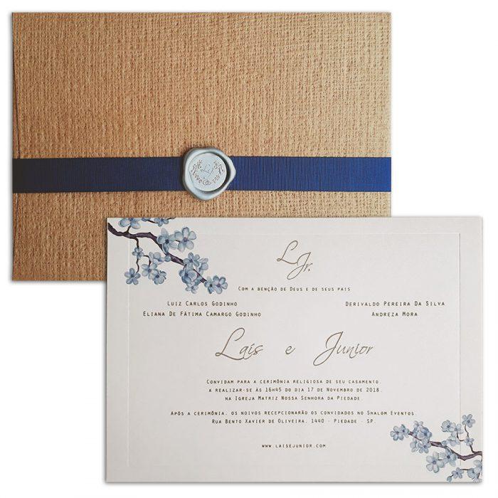 Convite de casamento rústico floal com lacre Veneza VZ 127
