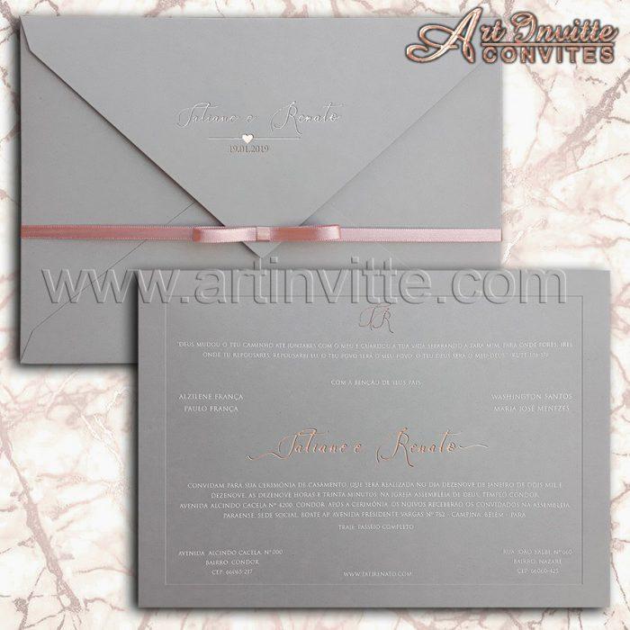 Convite de casamento Cinza e Rosê - Veneza VZ 128