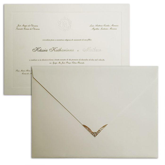 Convite de casamento Tradicional com ponteira Veneza VZ 129