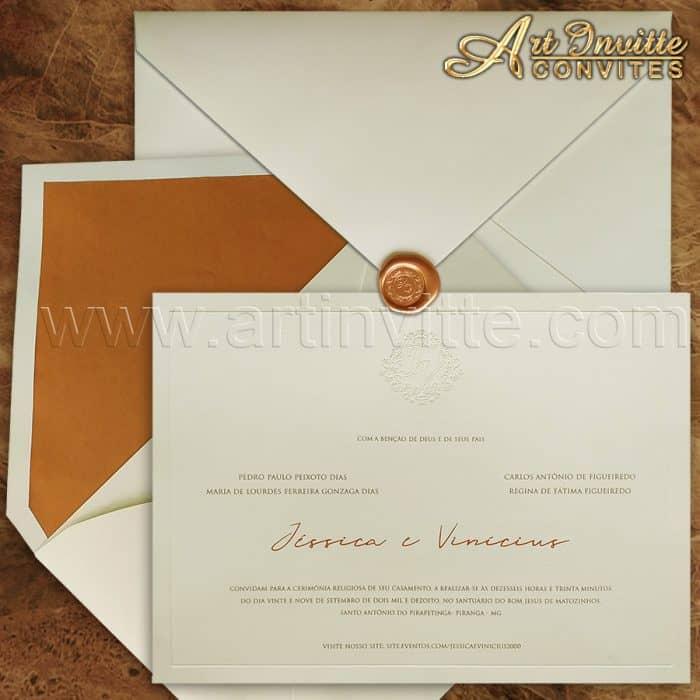 Convite de casamento Clássico - Veneza VZ 133 - Rose e cobre com forro e lacre