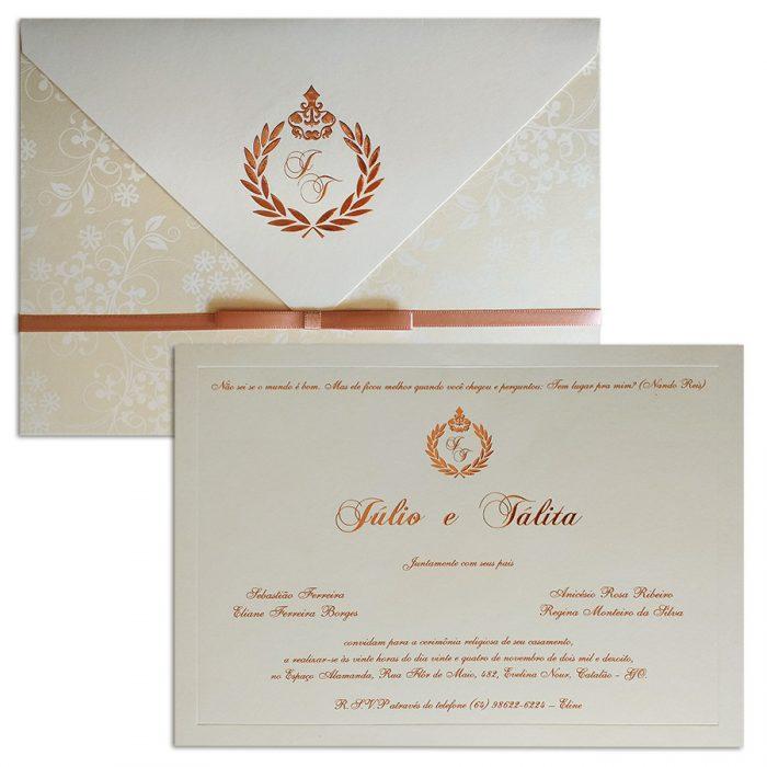 Convite de casamento rosê - Veneza VZ 135 - Art Invitte Convites