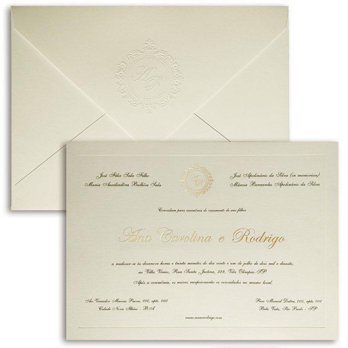 Convite de casamento tradicional - Veneza VZ 136 - Offwhite e Dourado