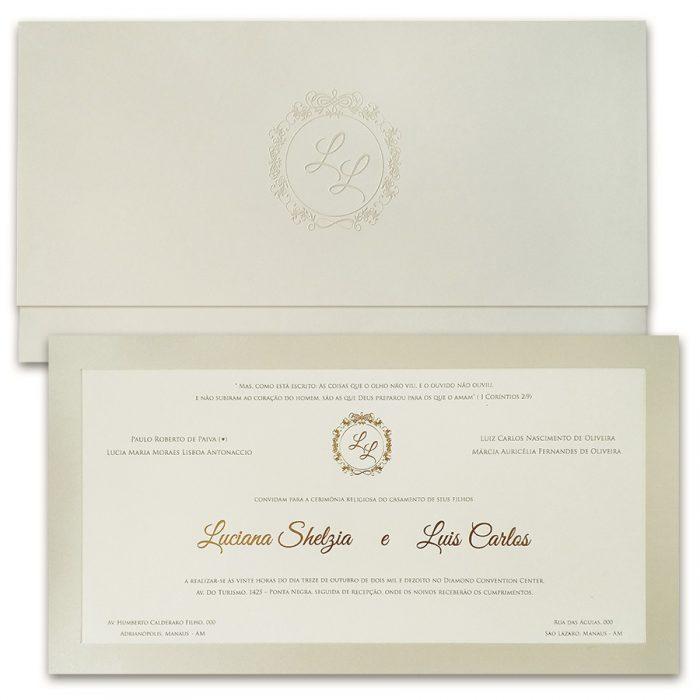Convite de casamento Tradicional - Veneza VZ 137 - Art Invitte Convites