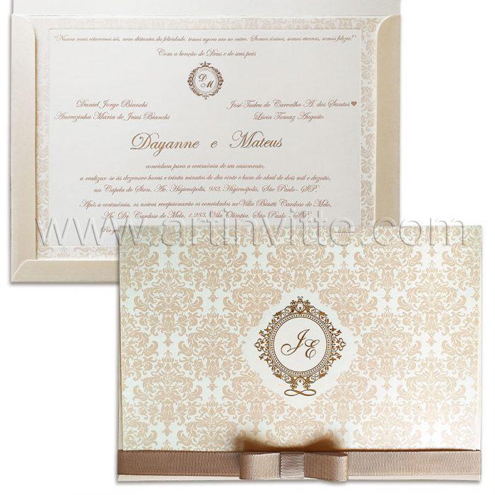 Convite de Casamento Romântico - Veneza VZ 139 - Art Invitte Convites