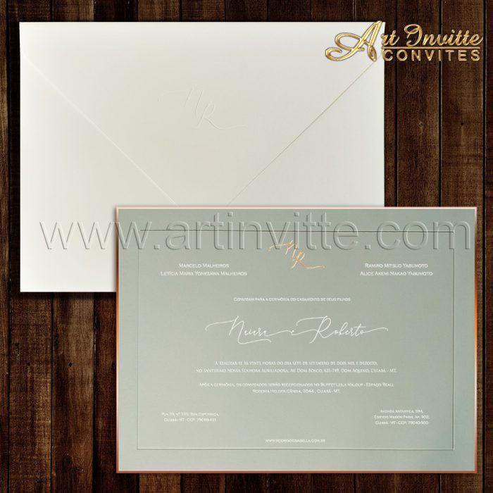 Convite de casamento Tradicional - Veneza VZ 141 - Cinza e rosê