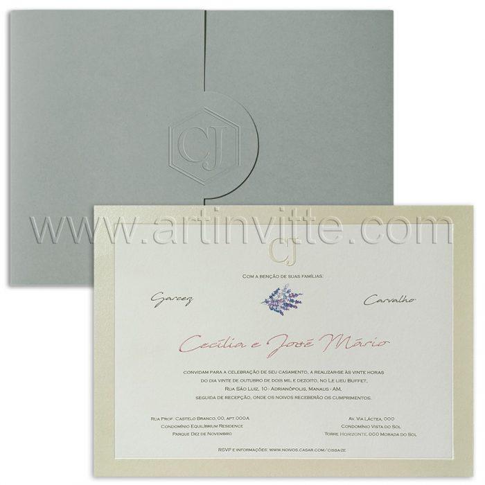 Convite de casamento Tradicional Floral - Veneza VZ 142 - Cinza e lilás