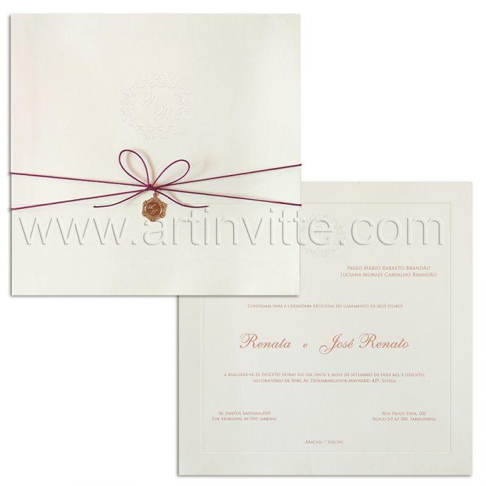 Convite de casamento Clássico - Veneza VZ 143 - Tradicional com pingente