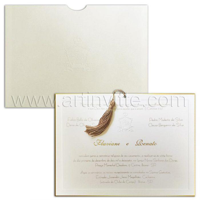 Convite de casamento Clássico - Veneza VZ 145 - Vegetal Pergamenata e corte dourado