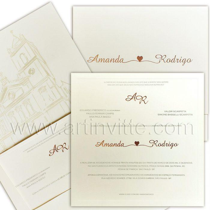 Convite de casamento Clássico - Veneza VZ 146 - Marca d'água igreja - Art Invitte Convites