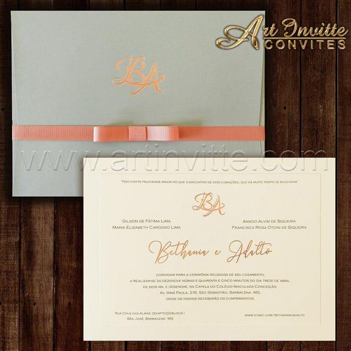 Convite de casamento Clássico - Veneza VZ 148 - Rose e cinza - Art Invitte Convites