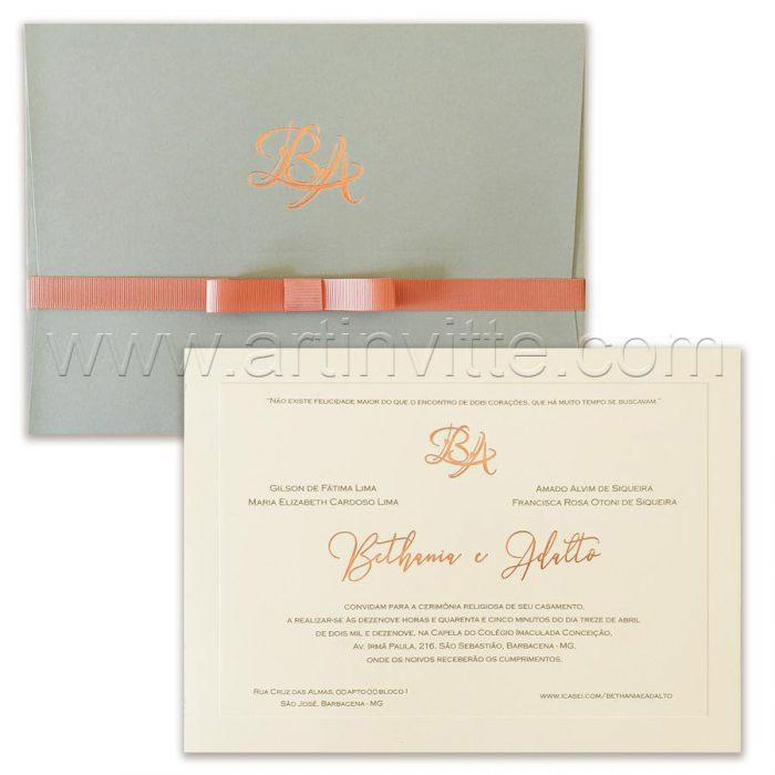 Convite de casamento Clássico - Veneza VZ 148 - Rose e cinza