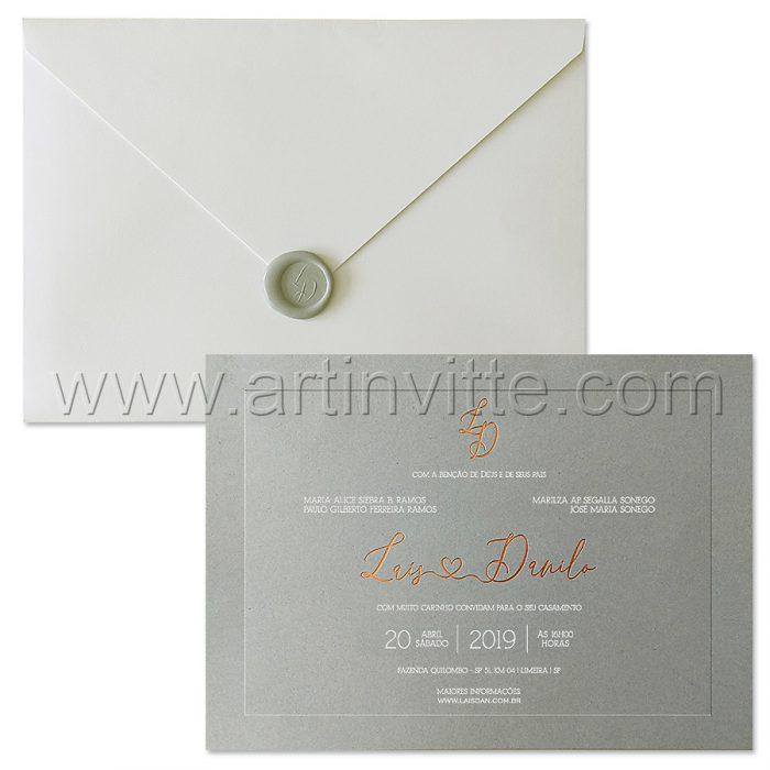 Convite de casamento Clássico - Veneza 150 - Rose e cinza - Art Invitte Convites