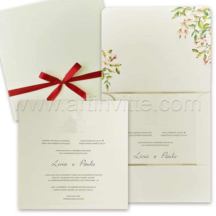 Convite de casamento Clássico - Veneza VZ 152 - Igreja em relevo seco - Art Invitte Convites