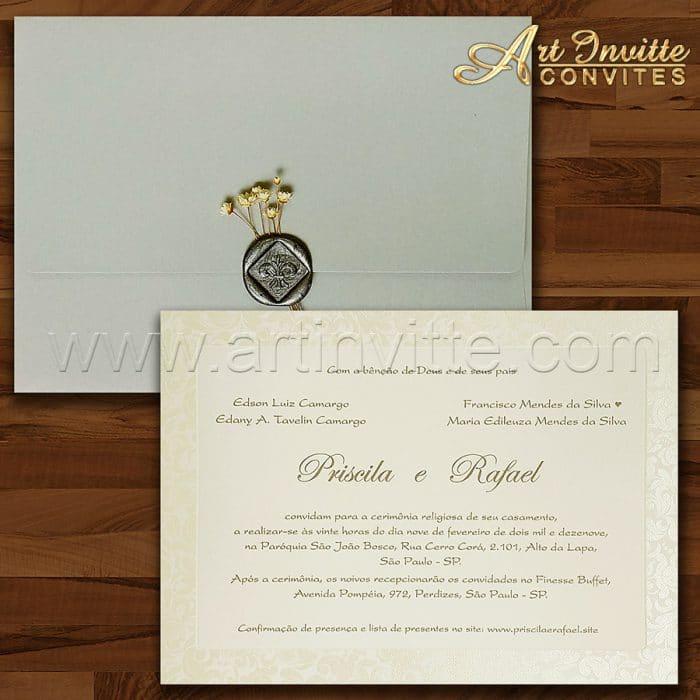 Convite de casamento Clássico - Veneza VZ 153 - Prata com lacre - Art Invitte Convites