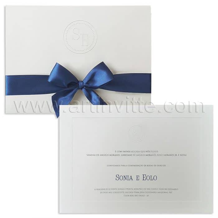 Convite de casamento Clássico - Veneza VZ 154 - Branco e Marinho - Art Invitte Convites