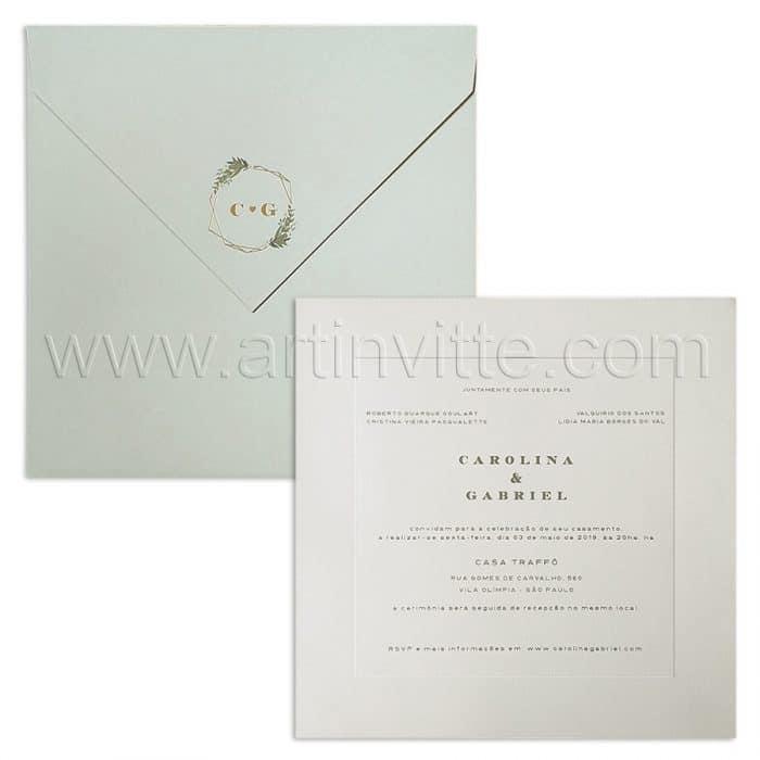 Convite de casamento Moderno - Veneza VZ 155 - Cinza e Hot Stamping Dourado - Art Invitte Convites
