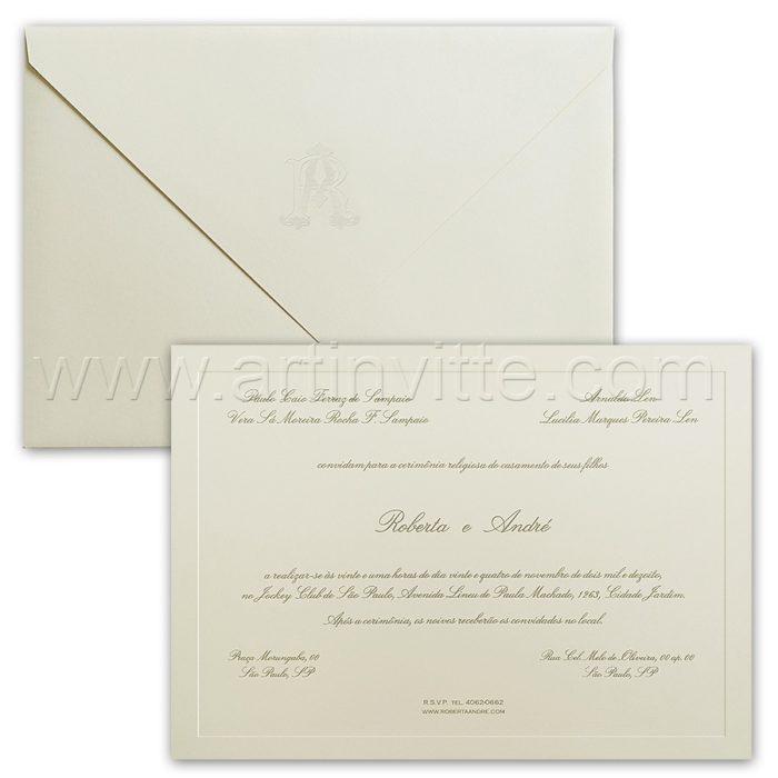 Convite de casamento Tradicional - Veneza VZ 156 - Clássico e Elegante - Art Invitte Convites