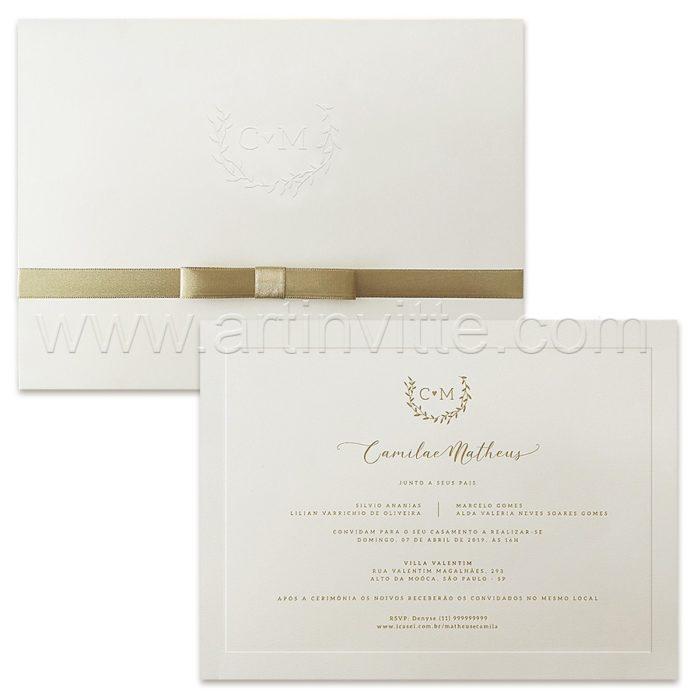 Convite de casamento Tradicional - Veneza VZ 157 - Clássico e Elegante - Art Invitte Convites
