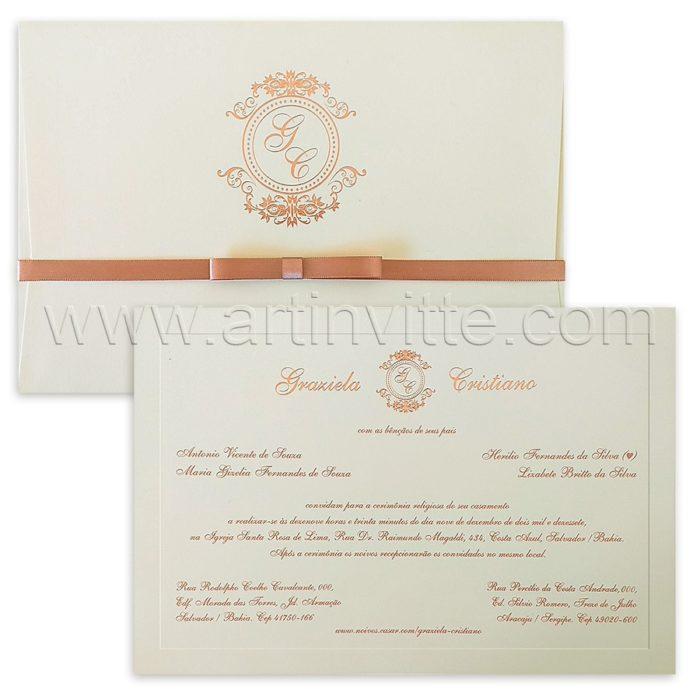 Convite de casamento Tradicional - Veneza VZ 158 - Clássico em Rosê - Art Invitte Convites