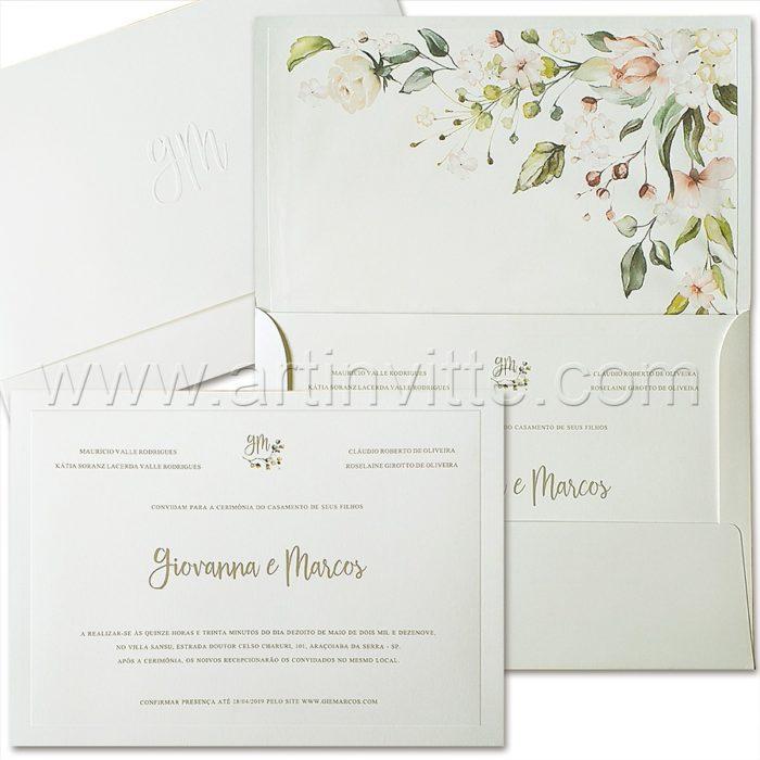 Convite de casamento Tradicional - Veneza VZ 159 - Clássico Floral - Art Invitte Convites